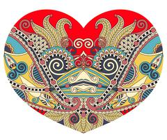 lace heart shape with ethnic floral paisley design for Valentine - stock illustration