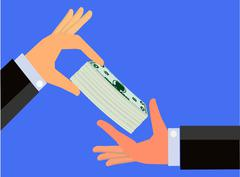 Hand handing a bundle of cash to the hand of another person Stock Illustration