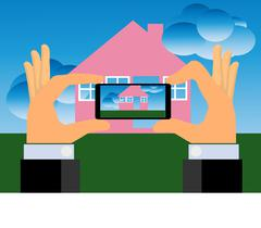 Hands Taking Picture of A House With A Smartphone Stock Illustration