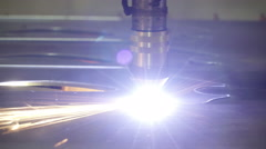 Closer look of how the plasma cutter works Stock Footage