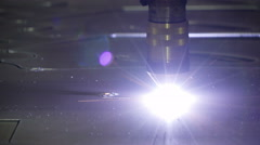 The circle form of cutting by the plasma cutter Stock Footage