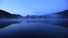 Morning mist on Lake Shikaribetsu in Hokkaido Stock Footage