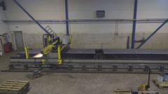 Zoom in view of the big plasma cutter machine Stock Footage