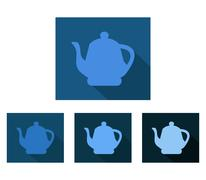 icon teapot flat design - stock illustration