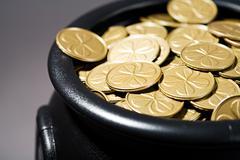 Treasure: Cauldron Full of Shamrock Coins - stock photo