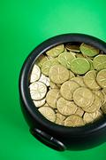 Stock Photo of Treasure: Overhead View of Pot of Shamrock Coins