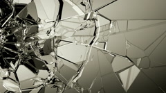 Glass shatter and breaking in slow motion. Alpha matte - stock footage