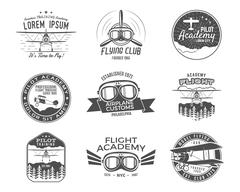 Vintage airplane emblems. Biplane labels. Retro Plane badges, design elements Stock Illustration