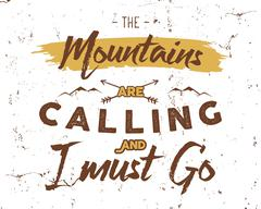 Outdoor inspiration background. Motivation mountain brochure quote template - stock illustration