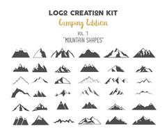 Logo creation kit bundle. Camping Edition set. Mountain vector shapes and Stock Illustration