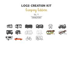 Logo creation kit bundle. Camping Edition set. Transport for travel vector - stock illustration