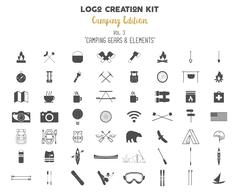 Logo creation kit bundle. Camping Edition set. Travel gear, vector camp symbols Stock Illustration