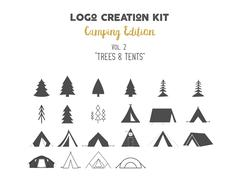 Logo creation kit bundle. Camping Edition set. Trees vector shapes and tents Stock Illustration