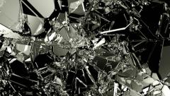 Glass shatter and breaking in slow motion. Alpha matte Stock Footage