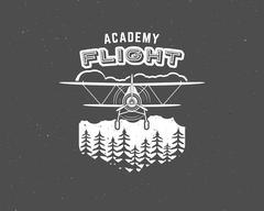 Vintage airplane emblem. Biplane label. Retro Plane badge, design elements - stock illustration
