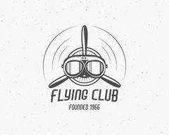 Vintage airplane emblem. Biplane label. Retro Plane badge, design elements Stock Illustration