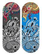 Ethnic ornamental paisley floral pattern for made bracelet, stri Stock Illustration