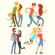 Couples in Love, Vector Illustration Stock Illustration