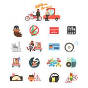 Motorcycle and Car Safety Drive Rules. Vector Illustration Set Stock Illustration