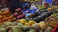 People buy fruits on the local indian market Stock Footage