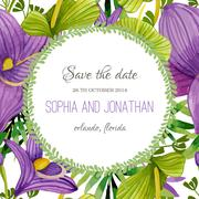 Wedding invitation watercolor with flowers - stock illustration
