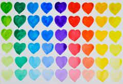 A love of painting. Rainbow watercolour hearts in rows. Stock Illustration