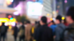 Blurred video of crowded city street with people at crossroad. Hong Kong Stock Footage