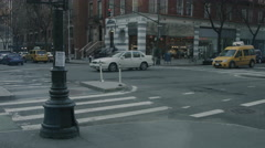 Cars Driving down New York City Street during the evening - stock footage