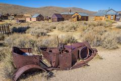 Rusty car wreck in Bodie - stock photo