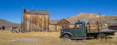 Panorama of an old rusty car in Bodie Stock Photos