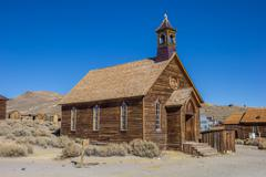 Old church in abandoned ghost town Bodie - stock photo