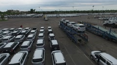 Huge parking slot in an import and export harbour drone scene. - stock footage