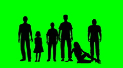 Six people in silhouette on a green screen - stock footage