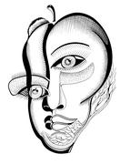 Surreal hand drawing faces, abstract template with black outlines, can use fo Stock Illustration