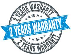 2 years warranty blue round grunge vintage ribbon stamp - stock illustration
