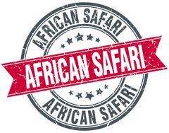 african safari red round grunge vintage ribbon stamp - stock illustration