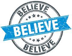 Stock Illustration of believe blue round grunge vintage ribbon stamp