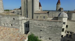 South French city duche d'Uzes with drone 2 - stock footage