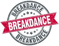 breakdance red round grunge vintage ribbon stamp - stock illustration