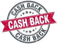 cash back red round grunge vintage ribbon stamp - stock illustration