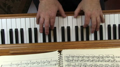 Older Male Hands Playing Piano Top Down View Stock Footage