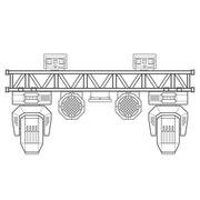 Outline stage metal truss concert lighting equipment. Stock Illustration