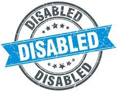 Stock Illustration of disabled blue round grunge vintage ribbon stamp