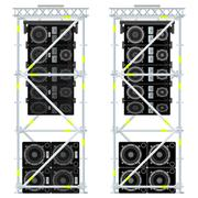 Stock Illustration of line array concert acoustics scaffold suspension illustration.