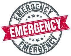 emergency red round grunge vintage ribbon stamp - stock illustration