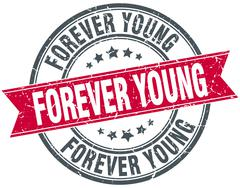forever young red round grunge vintage ribbon stamp - stock illustration