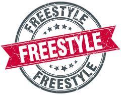 freestyle red round grunge vintage ribbon stamp - stock illustration