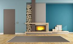 Contemporary living room with fireplace - stock illustration