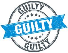 guilty blue round grunge vintage ribbon stamp - stock illustration