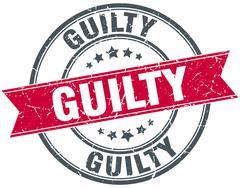Stock Illustration of guilty red round grunge vintage ribbon stamp
